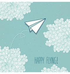 Cute hand-drawn greeting card with a paper vector
