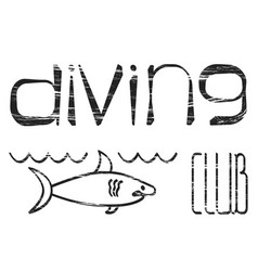 design logo diving club vector image vector image