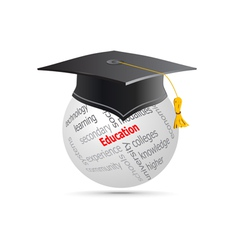 Education cup on globe keywords vector