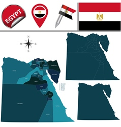 Egypt map with named divisions vector