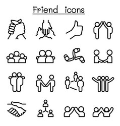Friendship relationship icons in thin line style vector