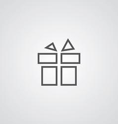 Gift outline symbol dark on white background logo vector