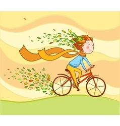 Girl on bike autumn background vector image