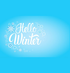 Hello winter season text banner abstract blue vector