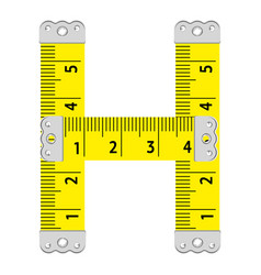 Letter h ruler icon cartoon style vector
