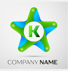 Letter k logo symbol in the colorful star on grey vector