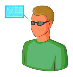 man with future high tech smart glasses icon vector image vector image