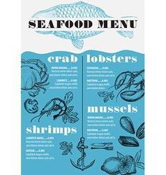 Menu seafood restaurant food template placemat vector