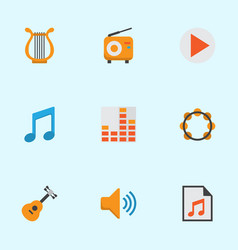 Multimedia flat icons set collection of media vector