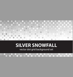 Polka dot pattern set silver snowfall seamless vector