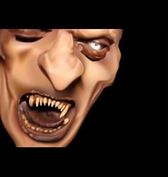 Satan face with scary teeth vector