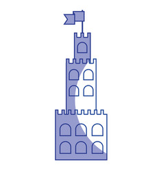 Silhouette castle built on an kingdom to protect vector
