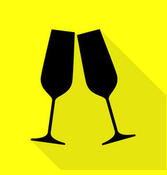 Sparkling champagne glasses black icon with flat vector