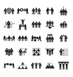 Team building training icons set simple style vector