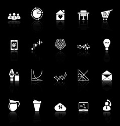 Virtual organization icons with reflect on black vector