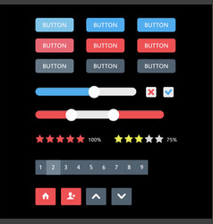 web ui elements buttons switches bars power vector image