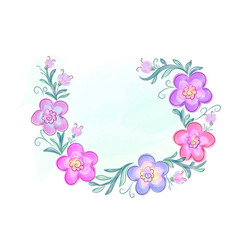 wreath of flowers in watercolor style with white vector image