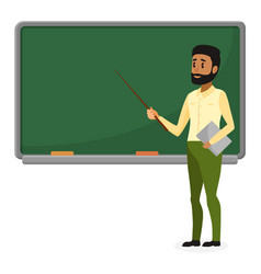 Young arab teacher in modern clothes standing near vector