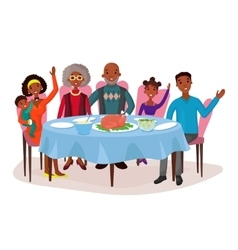 Happy afro american family at dinner table vector