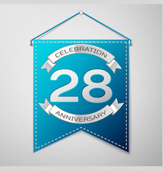 blue pennant with inscription twenty eight years vector image