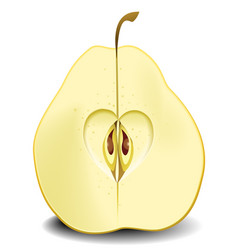 Pear fruit heart vector
