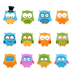 Retro owl set vector