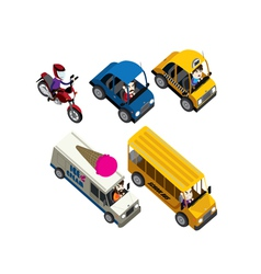 Cars motorcycles buses and truck isometric set vector