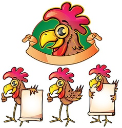 Hen cartoon set vector