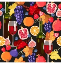 Wine and fruit seamless vector