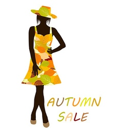 Autumn background with fashion woman with dress vector