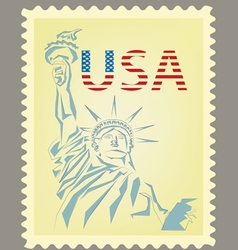 Postage stamp with statue of liberty vector