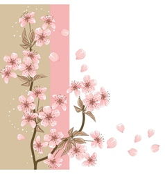 Cherry Tree Card with stylized blossom vector image