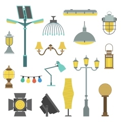 Lamps styles design electricity classic light vector