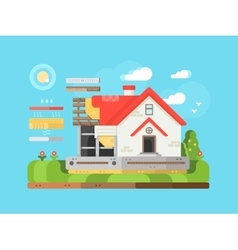 Construction of private houses flat vector