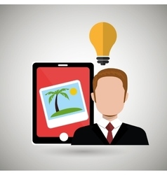 Persons with smartphone isolated icon design vector