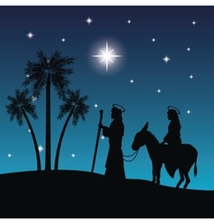 Joseph maria and donkey icon merry christmas vector