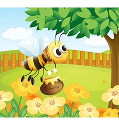 A bee holding a honey while flying vector image vector image