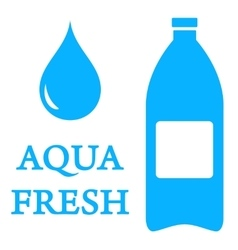 aqua icon with bottle and water drop vector image vector image