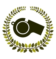 arch of leaves with closeup whistle vector image vector image