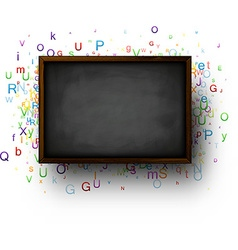 Background with blackboard and letters vector