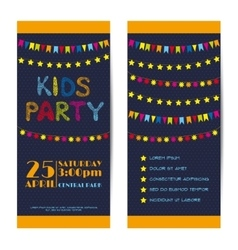 Banners invitation cards set kids party vector
