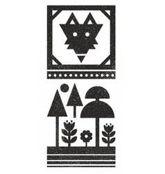 Black and white scandinavian print with wild fox vector