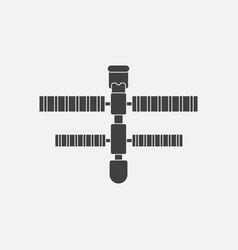 black icon on white background space station vector image vector image