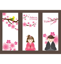 Cherry blossoms and japanese couple backdrop vector