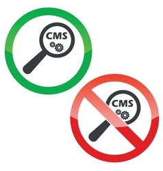 Cms search permission signs set vector