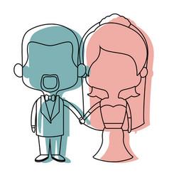cute cartoon wedding couple holding hand vector image