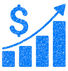Financial bar chart grunge icon vector