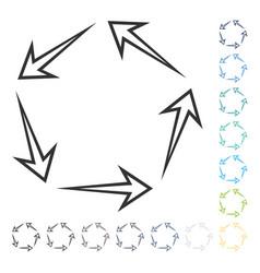 Five recycle arrows icon vector