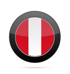 Flag of peru shiny black round button vector