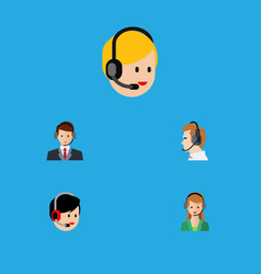 Flat icon telemarketing set of secretary call vector